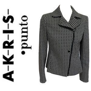 AKRIS PUNTO asymmetrical polka dot zip jacket